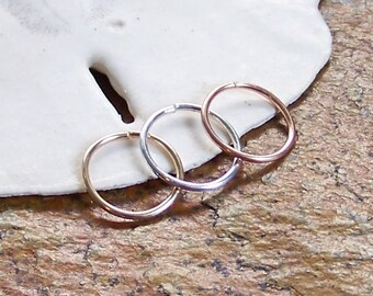 Endless Hoop Nose Ring - 20 or 18 Gauge - Choose Size 8mm 10mm - Nose Hoop - Septum Ring Septum Hoop - Sterling Silver - Rose or Yellow Gold