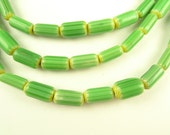 """32"""" small cylinder chevrons lime green w yellow chevron glass trade beads"""