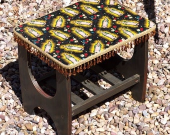 Mexican Folklore Religious Icon Upcycled Small Retro Table or Stool - Quirky Home Decor