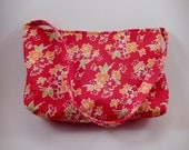 Baguette Red Floral small purse cute busy bag clutch cotton bright colorful simple