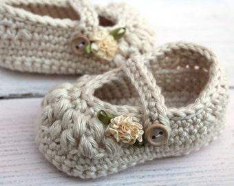 Baby Girl Booties, Crochet Baby Shoes, Newborn Baby Girl
