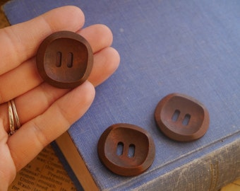 "8 pcs Unique Carved Dark Brown Wood Buttons 30mm 1 1/8""  (WB1017)"