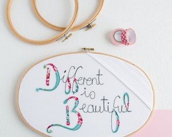 Different is Beautiful Embroidery Hoop