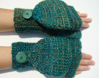 Emerald Green Mitten, Alpaca Mittens, Convertible Mittens, Fingerless Gloves, Crochet Mittens, Autumn Accessories, Fall Mittens, Fall Gloves