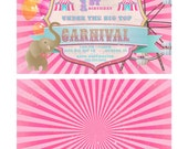 Girls Pink and Blue Vintage Carnival Birthday Invitation Front and Back