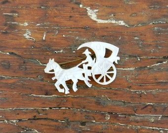 30's CARVED CARRIAGE BROOCH - Mother of Pearl / Asian-inspired / Horse Drawn / Ethnic / Rare / Art Deco