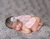 Butterfly Wing Set, Baby Headband, Sequin Butterfly Prop- Baby Pink and Grey Butterfly Set Photography Prop Newborn Prop