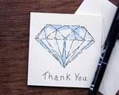Hand Drawn Greeting Card - Thank you Card - Diamond