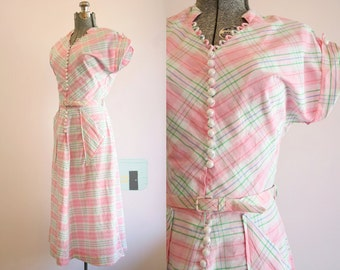 1940's Cotton Pink and Green Plaid Dress / Size Medium