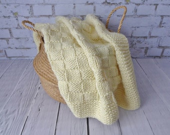 25% Wool Basket Weave Bulky Baby Blanket  - Hand Knit - EASY CARE - Natural