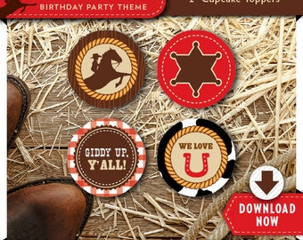 Cowboy Cupcake Toppers | Printable Circles | Party Decorations | Cake Decor | Instant Download