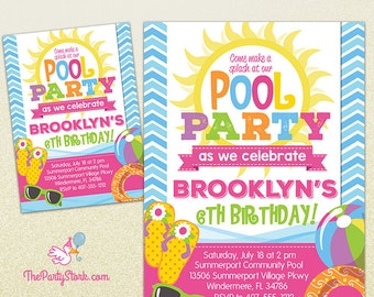 Pool Party Invitation   Printable Birthday Invite for Girl   Summer Pool Party   Pink Orange Purple Green Yellow   Swimming Pool Invitations