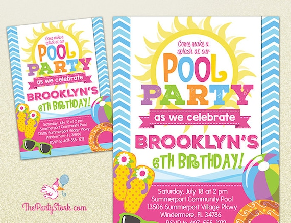 Pool Party Invitation | Printable Birthday Invite For Girl