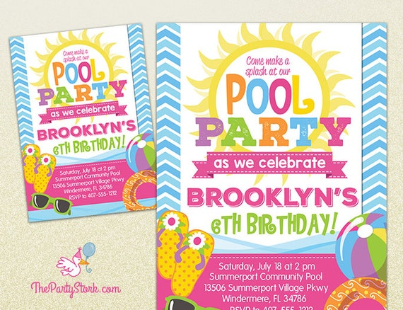 Pool Party Invitation  Printable Birthday Invite For Girl