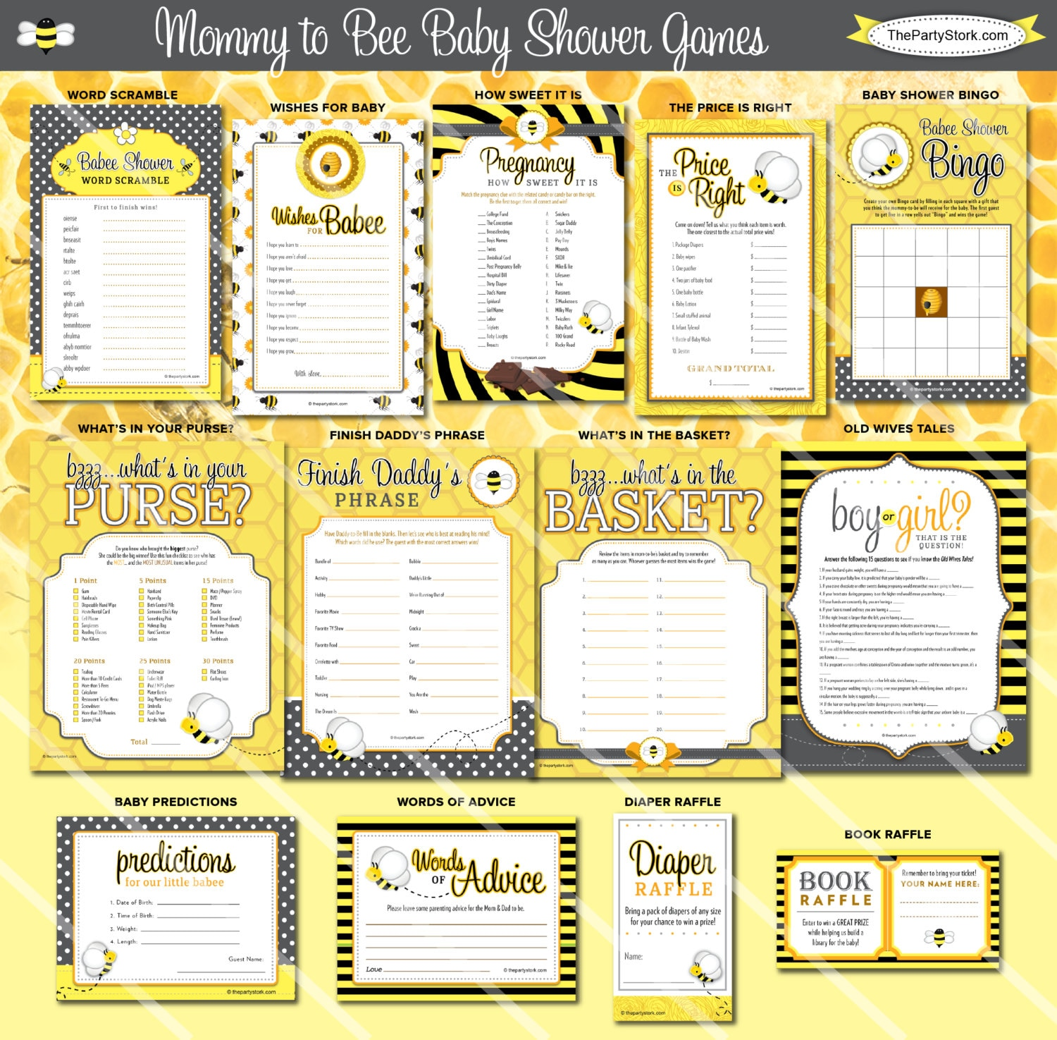 Baby Shower Games: Bee Baby Shower Games Mommy To Bee Theme Printable