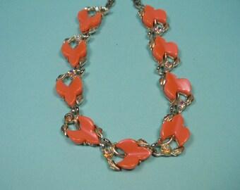 60s Coral Thermoset Necklace, Aurora Borealis Rhinestones, Vintage