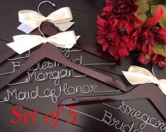 Set of 5 Wedding dress hanger, Personalized Hanger,  Custom Bridal Hangers,Bridesmaids gift, Wedding hangers with names,Custom made hangers