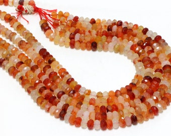 "GU-2545-2 - Natural Carnelian Faceted Rondelle Beads - 5x8mm - Gemstone Beads - 16"" Full Strand"