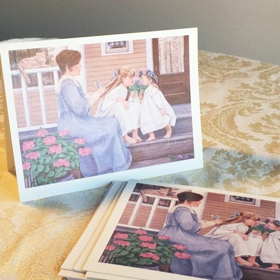 Blank Mother and Daughter Note Cards / Vintage Stationery by Sue Shanahan