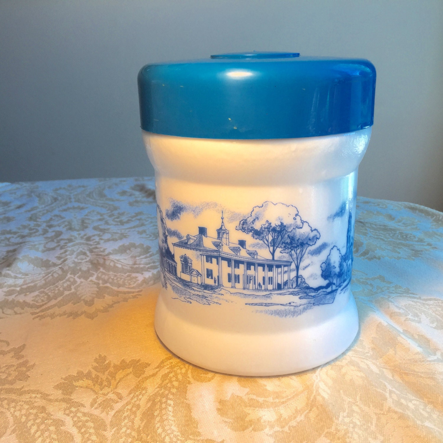 Vintage blue and white glass canister vintage by vintagepoetic - Blue glass kitchen canisters ...