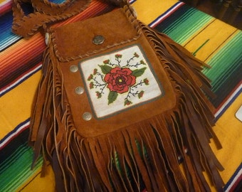 Brown Leather Beaded Fringed Red Rose,Indian design, Bag, purse