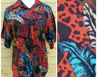 80s Bright Tropical Blouse Vintage Red Turquoise Leopard Leaf Print Rayon Shirt Size M/L Medium Large Button Down Short Sleeve Top 1980s