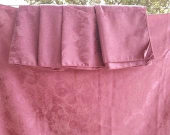Romantic Dusty Rose Mauve Tablecloth Table Cloth & 10 Napkins 82 x 58 Set
