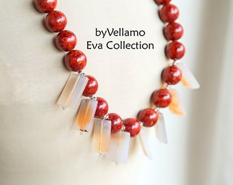 Summer colors, cherry red, unusual chunky statement necklace, pastel pink large agate stones, rectangle stones, large unique design necklace