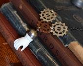 Halloween Jewelry Steampunk Jewelry Steampunk Gear Necklace Porcelain Doll Hand Steampunk Necklace Doll Necklace Gear Jewelry Upcycled