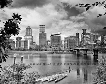 Portland Oregon Print | Skyline | Cityscape | Black and White | Oregon Photography | Portland Waterfront