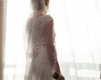 "Wedding veil single tier with lace chapel veil wedding veil with lace trim ""Katie"""