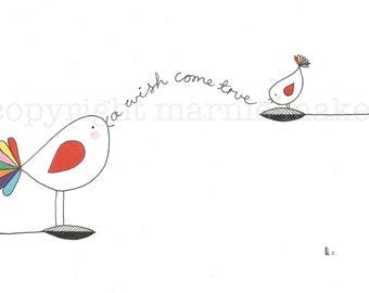 Happy Birds # 3- giclee print