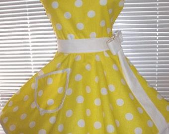 PLUS SIZE Sweetheart Retro Apron Yellow White Polka Dots Circular Flirty Skirt