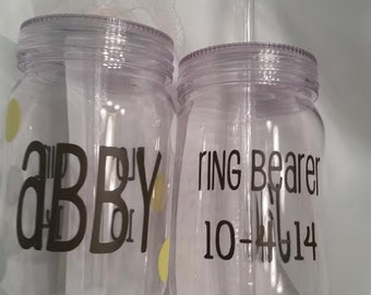 Personalized Flower Girl and Ring Bearer Acrylic Mason Tumblers with straw