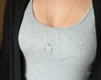 Long Gold Filled Circle Necklace - Gold Eternity Necklace - Layering Everyday Necklace - Gold Filled Necklace - Gold Necklace