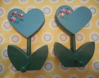Peg Hangers, Shabby, Cottage, Hearts, Handpainted, Vintage, Petite, Blue, Pink, Flowers, Rose, Victorian, Girls Room, Home Decor, Two