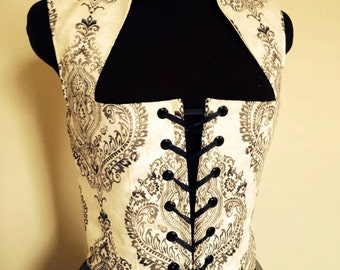 Fantasy cosplay Renaissance Just the bodice in Gray and Cream  custom available!!!