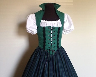 Green and Blue Scottish Irish Celtic Renaissance Dress Bodice  Costume 3-Piece set made to fit YOU