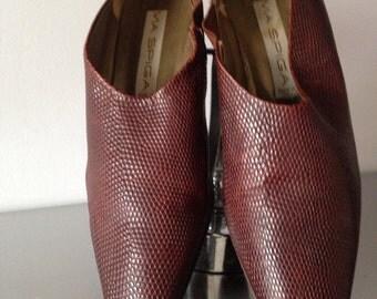 Via Spiga Embossed Leather Squared Toe Cuban Heel Shoes / 80's Vintage Cuban Heel Ladies Trouser Shoe / Via Spiga Cuban Heel Leather Shoes