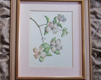 Vintage Watercolor Dogwood Flowers 1950s Retro Original Watercolor Painting Professionally Framed Retro Wood Frame Pink Dogwood