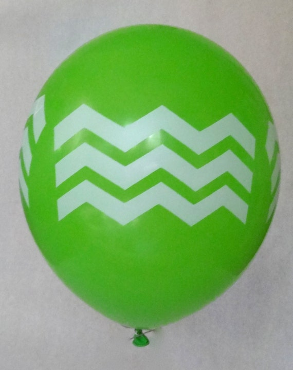 "Chevron Print on Green 12"" Latex Helium Balloon, beve-Designed Print, 24 pack"