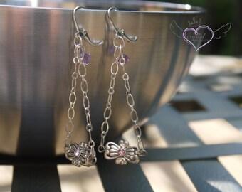 Purple Swarovski Crystal Dangle Earrings
