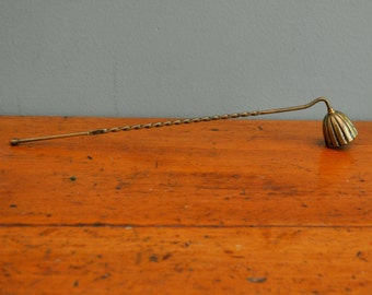 Vintage 1950s Solid Brass Candle Snuff with Twisted Handle 12 1/2""