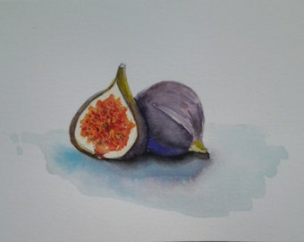 Original Watercolor Fig Painting Card / Fig Painting / Kitchen Wall Art /
