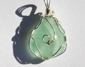 Blue-green Sea Glass Wire Wrap Pendant