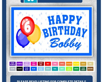Custom Happy Birthday Banner (VINYL) - 48 in x 30 in