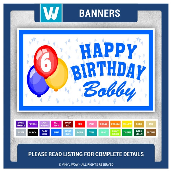 Custom Happy Birthday Banner VINYL 48 In X 30 In By VinylWOW