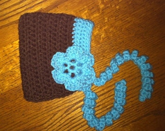 RTS** Hand Crocheted Brown and Turquoise Pixie Bonnet with Curly Ties and big beautiful flower ~ Size 0-3 months ~ **Ready to Ship