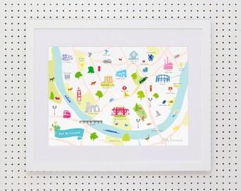 Map of Fulham Print