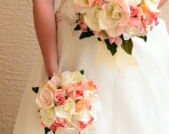 Bride Bouquet Round Bouquet Wedding Set Coral, White, Ivory Orchids and Roses 16 Pieces